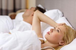 Man Sleeping  With Woman Thinking